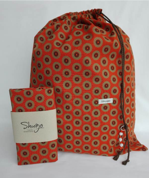 Orange With Circles Shweshwe Laundry Bag